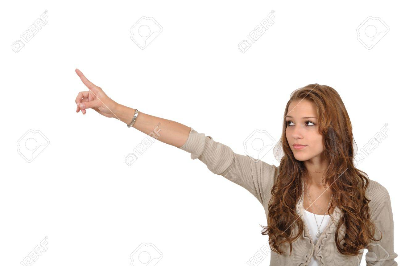 Young woman pointing to a reference Stock Photo - 9986277
