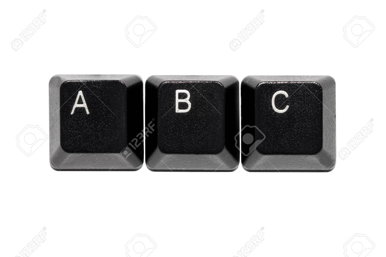 Black Computer Keyboard Letters A B C Keys On White Background Stock