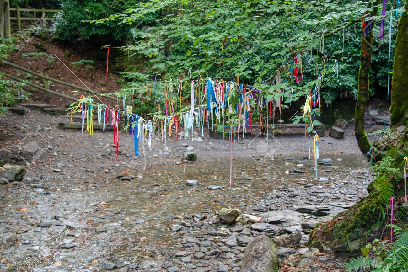 Clootie Tree At St Nectans Glenn Near Tintagel In North Cornwall. Clootie  Wells Are Places Of
