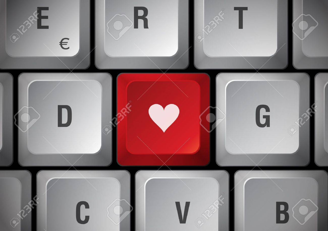 White keyboard heart touch Stock Photo - 8889280