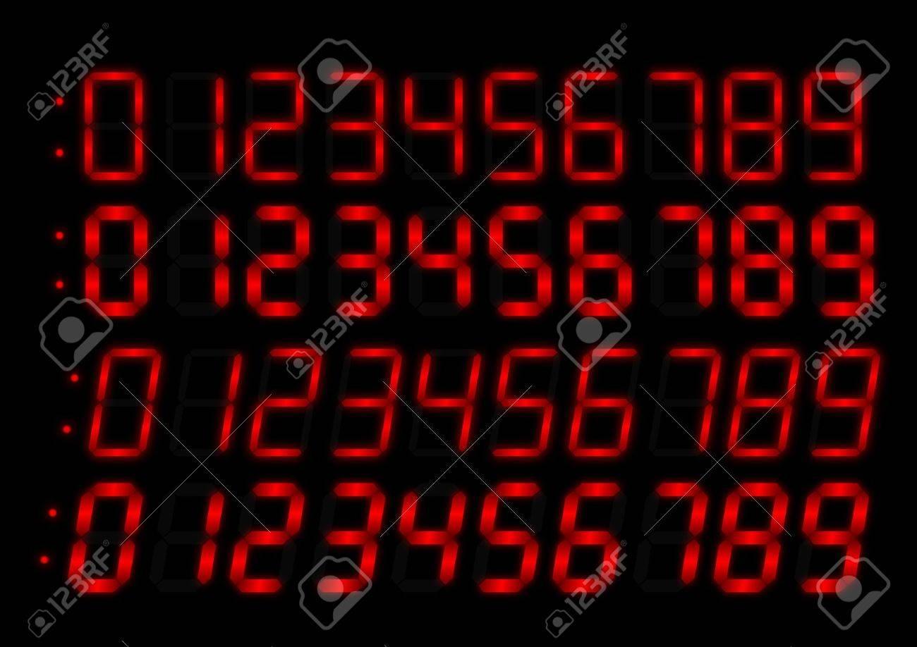Clock radio red numbers Stock Vector - 10054818