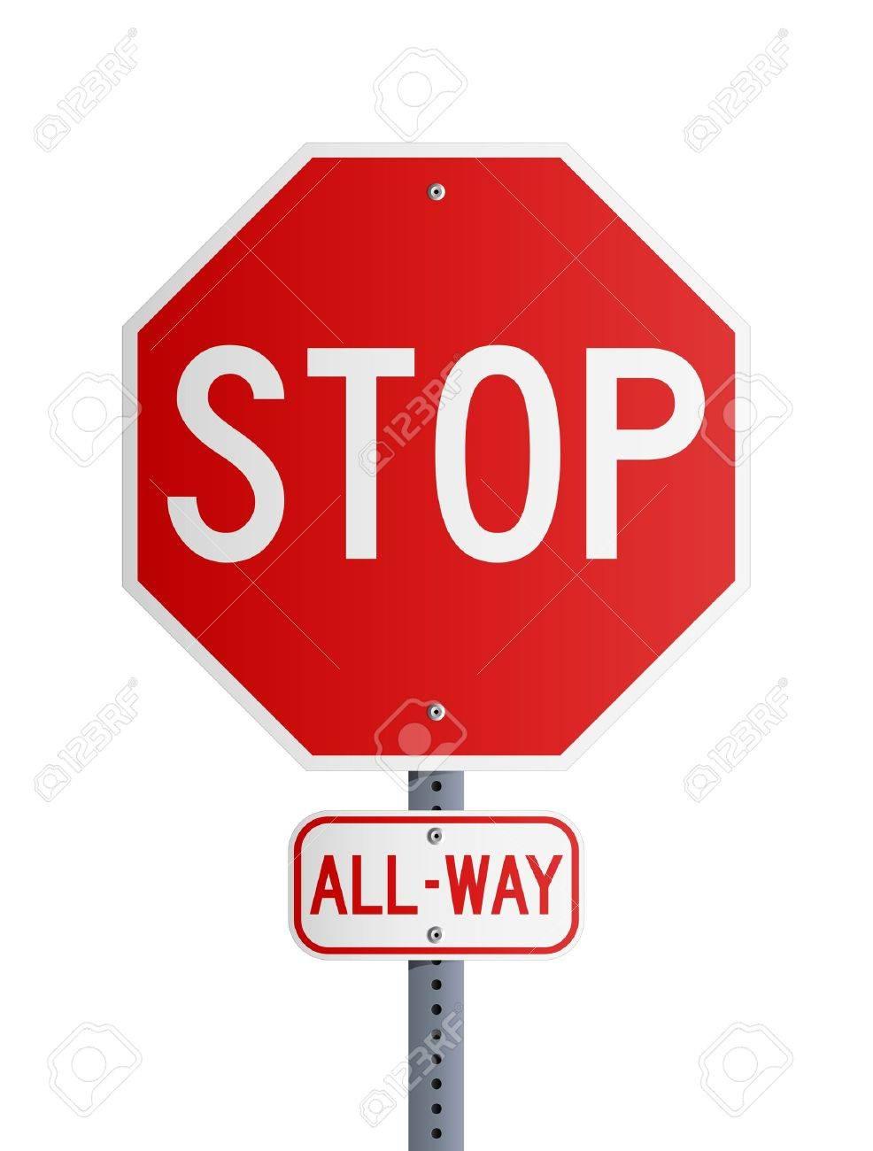 Stop All-Way Stock Vector - 11295301
