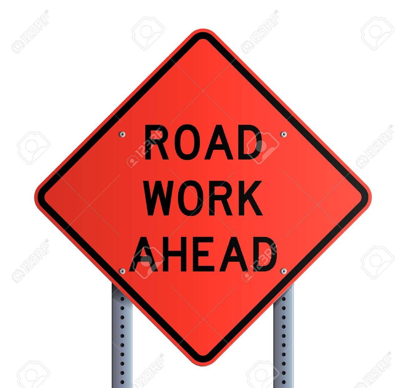 Panneau - Road work ahead Stock Vector - 13276483