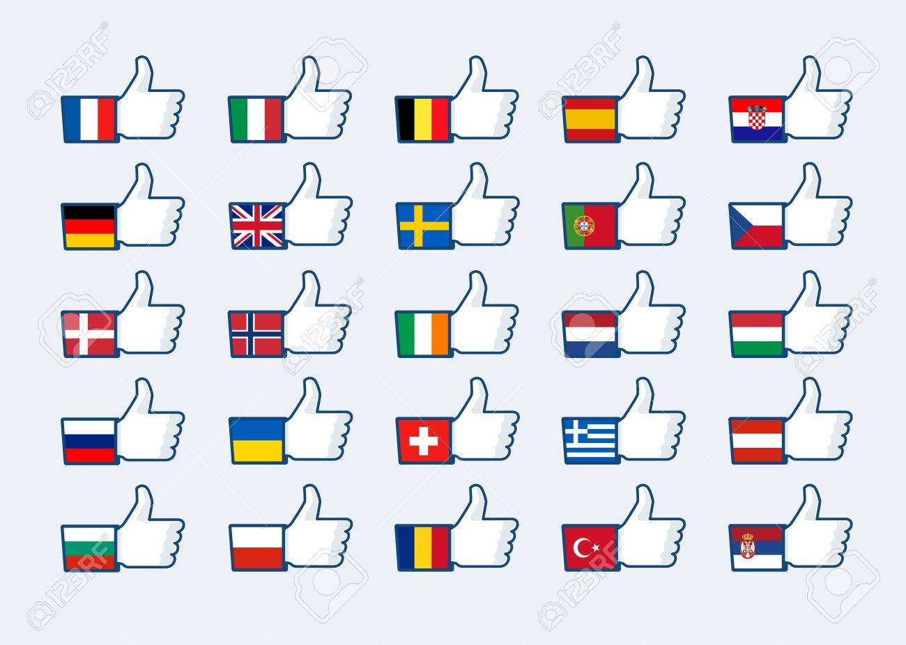 Thumb up Europe flags Stock Vector - 16306803