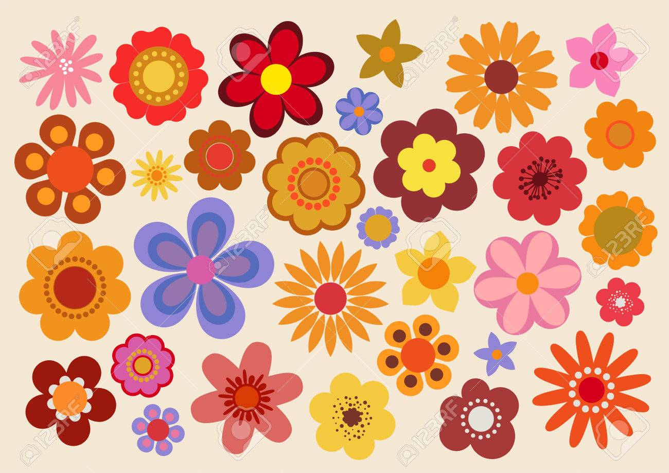 Vintage Flowers 60s 70s Royalty Free Cliparts Vectors And Stock