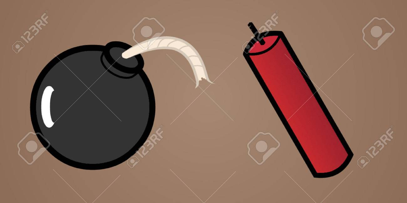 A round black bomb with a stick of dynamite. Stock Vector - 730871
