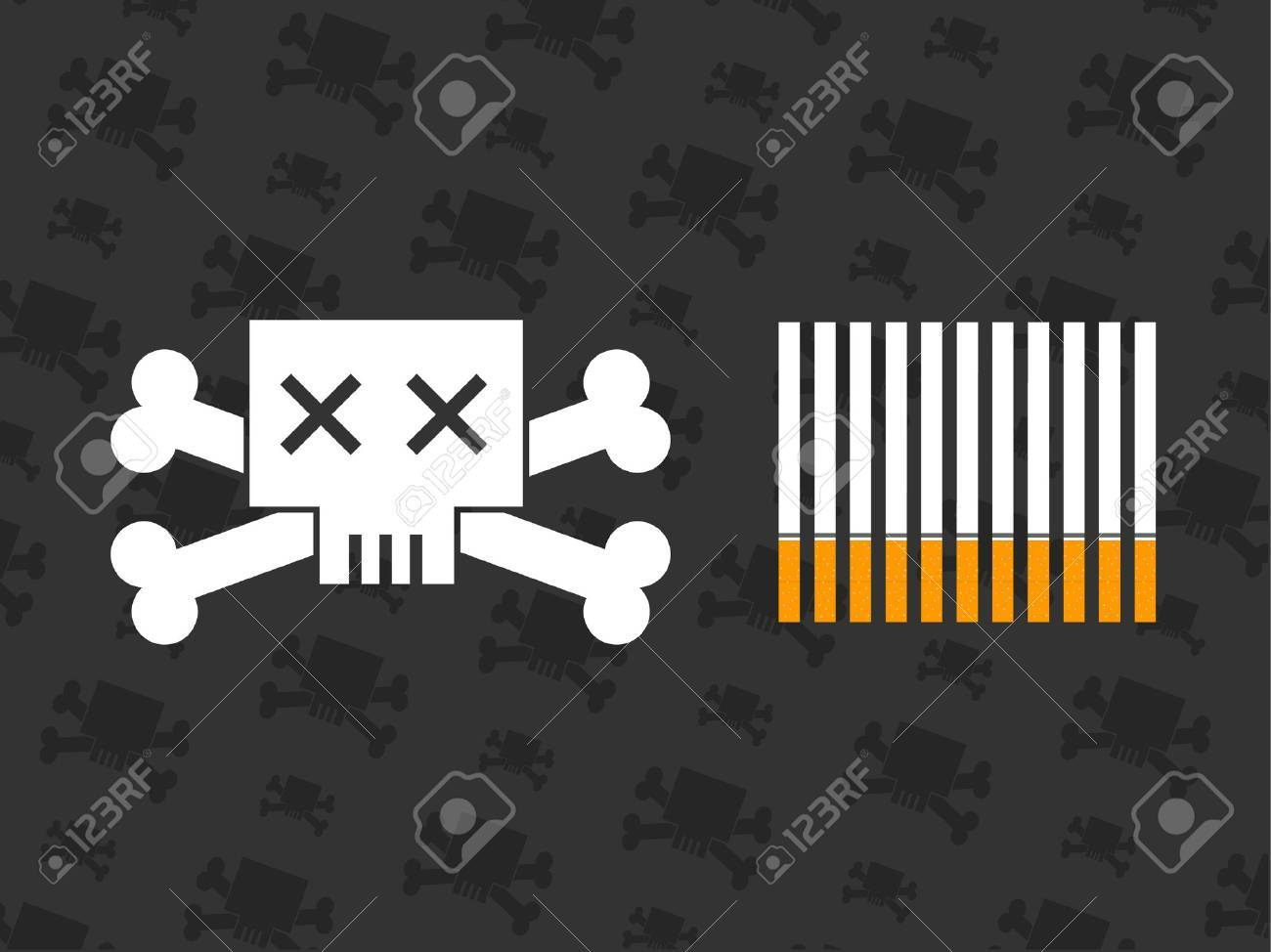 A skull and crossbones next to some cigarettes Stock Vector - 773424