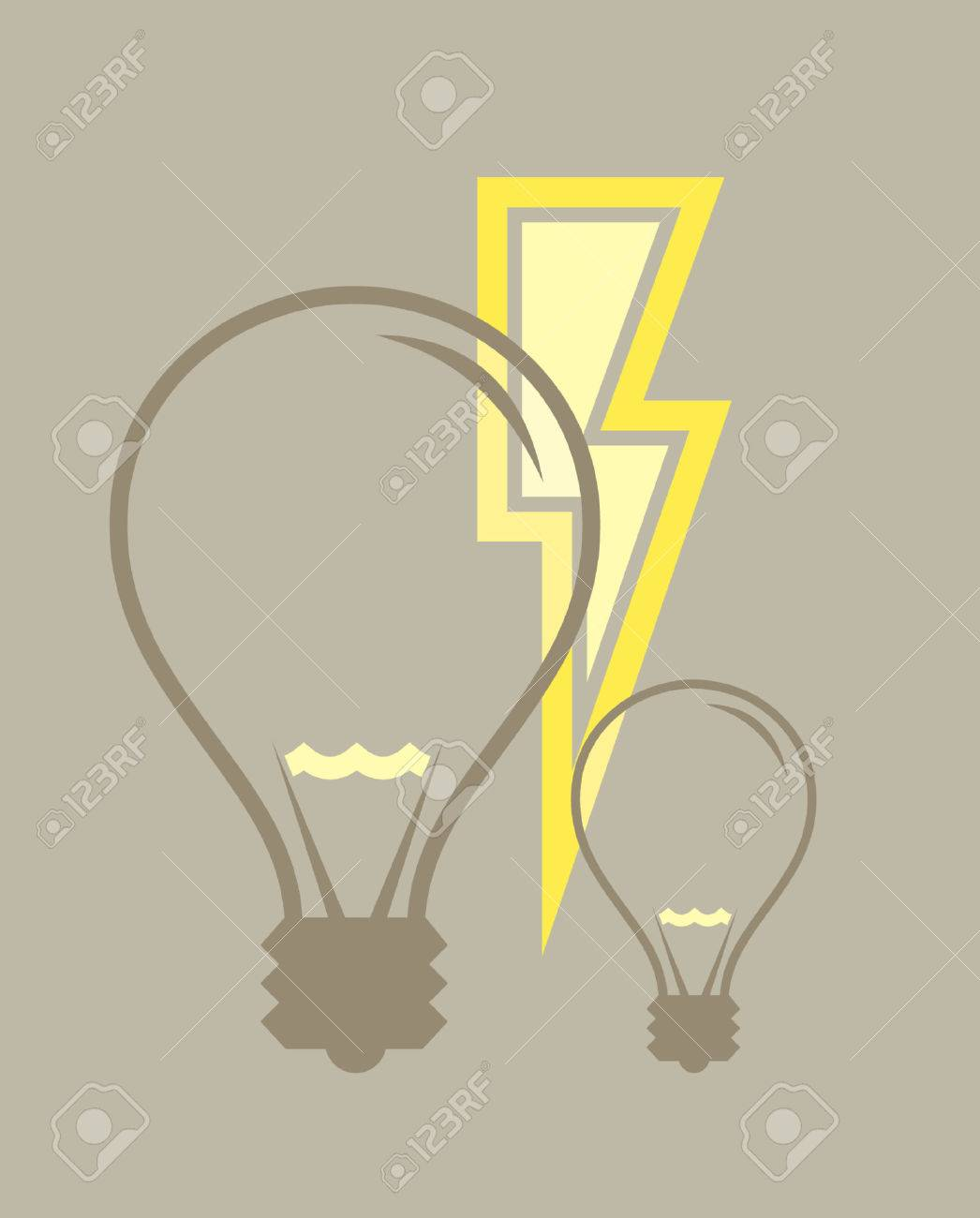 A vector illustration of two light bulbs and some electricity. Stock Vector - 791596