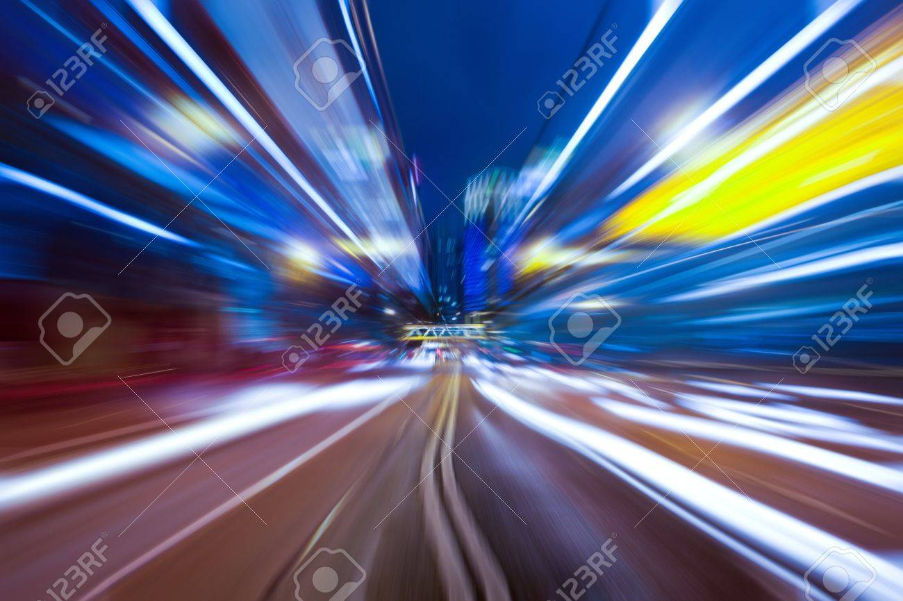 headlight motion blur trials in city night in a commercail district . Stock Photo - 9057492