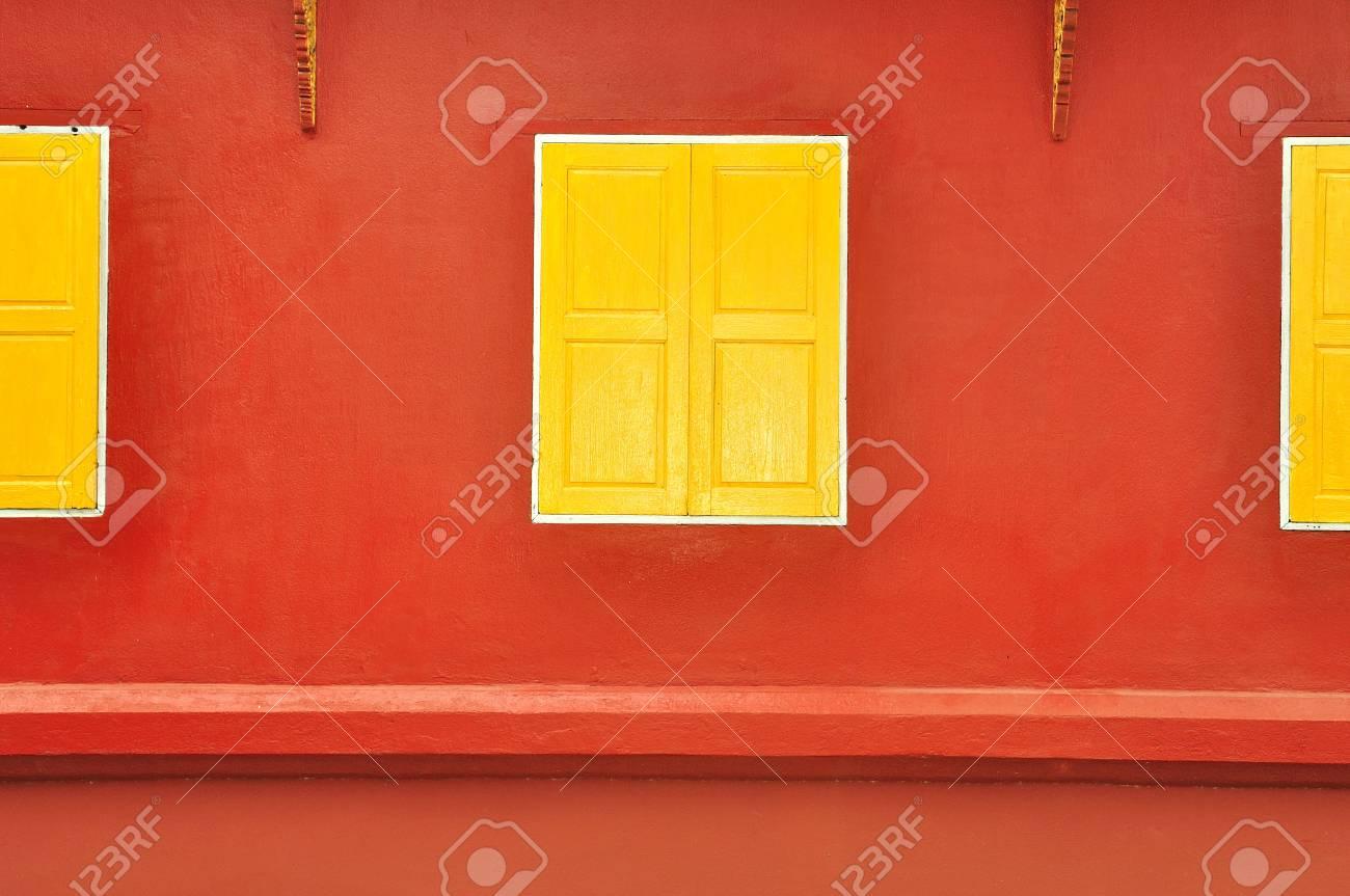 traditional thai style yellow window Stock Photo - 11117380