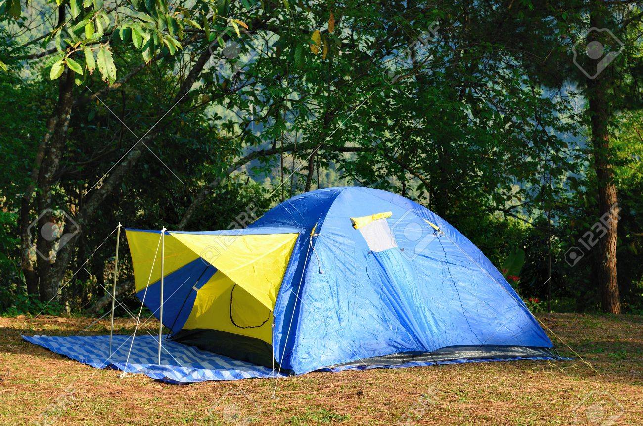 C&ing Tents at C&ground during Daytime in the woods Stock Photo - 12502484 & Camping Tents At Campground During Daytime In The Woods Stock ...