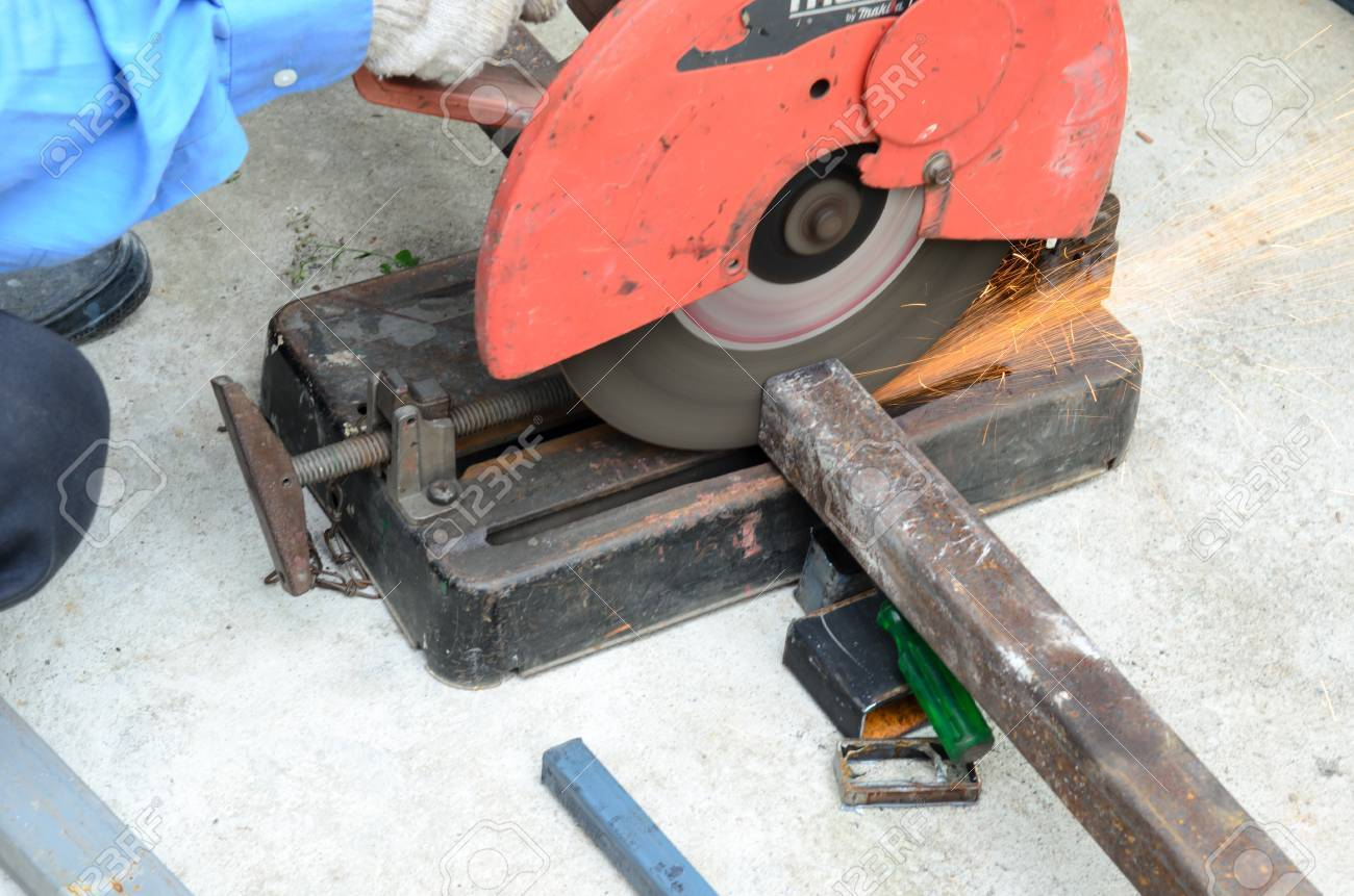 cutting steel with machine for cutting steel. Stock Photo - 15596108
