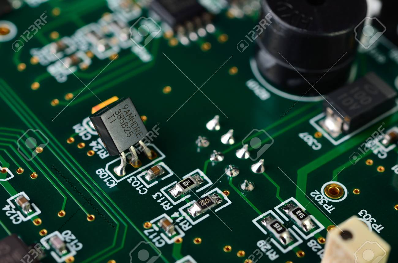 Detail Of An Electronic Printed Circuit Board With Many Electrical Components Stock Photo 31421452