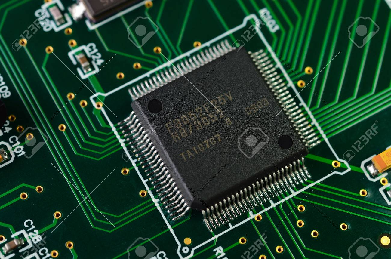 Detail Of An Electronic Printed Circuit Board With Many Electrical What Is The Name Components Stock Photo 31421459