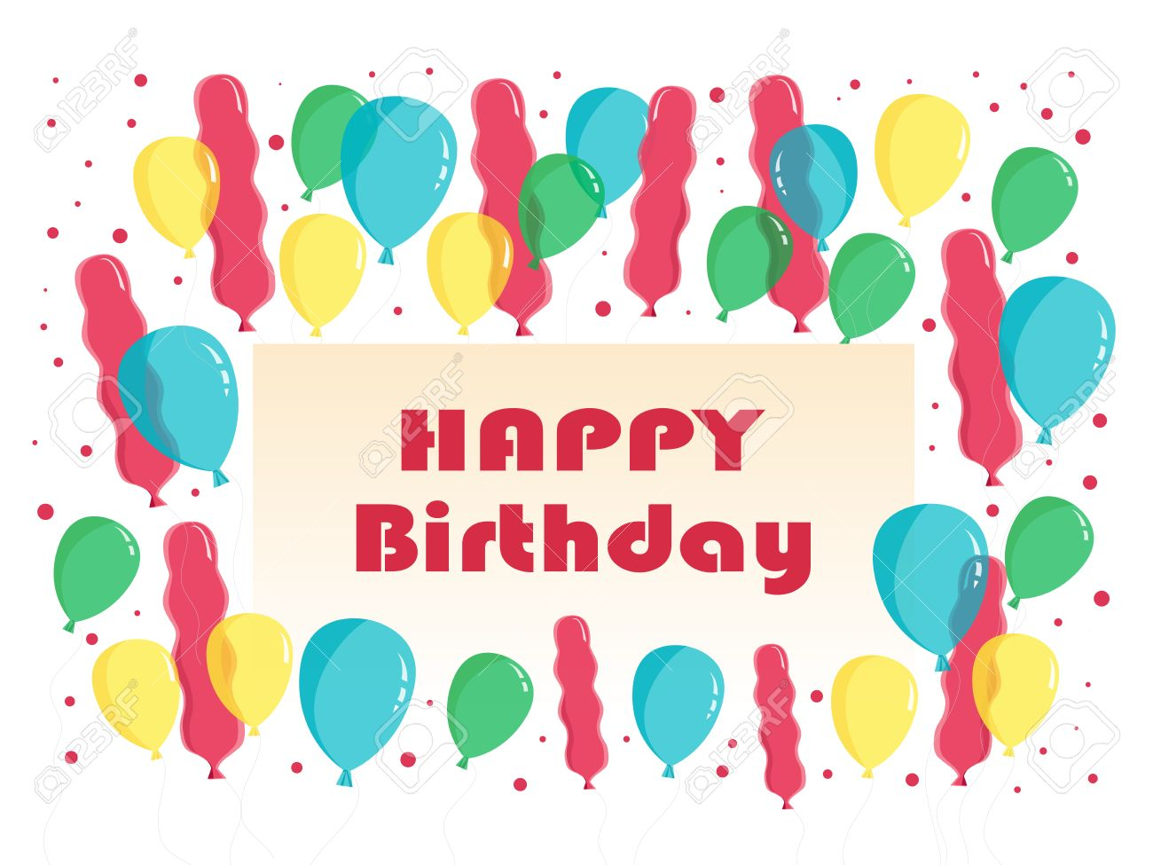 Flat Happy Birthday Greeting Card With Text And Balloons Vector ...