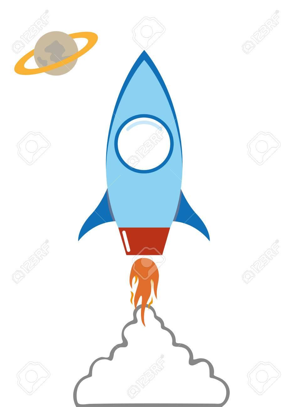 flat rocket in space with smoke cloud vector cartoon illustation - 50880055