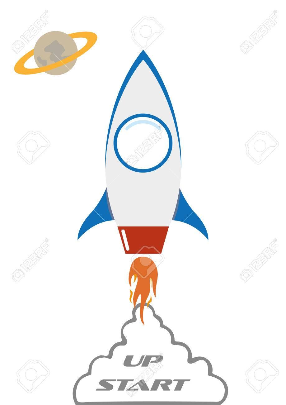 flat in space rocket start-up idea vector illustration - 50880061