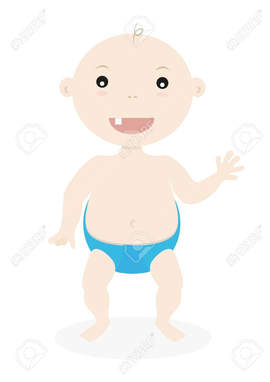 かわいい小さな赤ちゃん男の子かわいい漫画子供イラスト ロイヤリティ