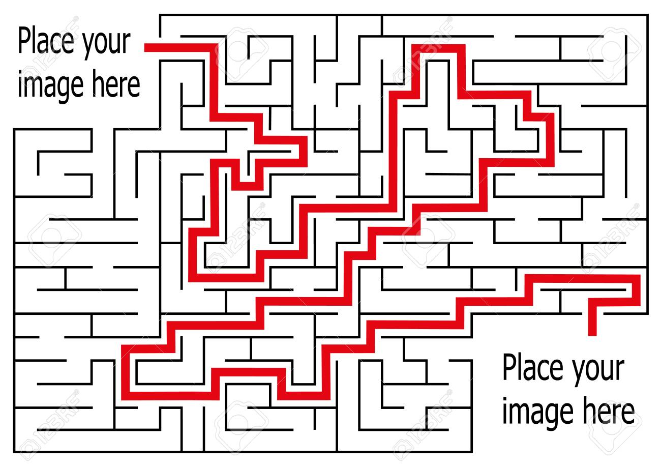 Rectangle Labyrinth With Entry And Exit Vector Game Maze Puzzle