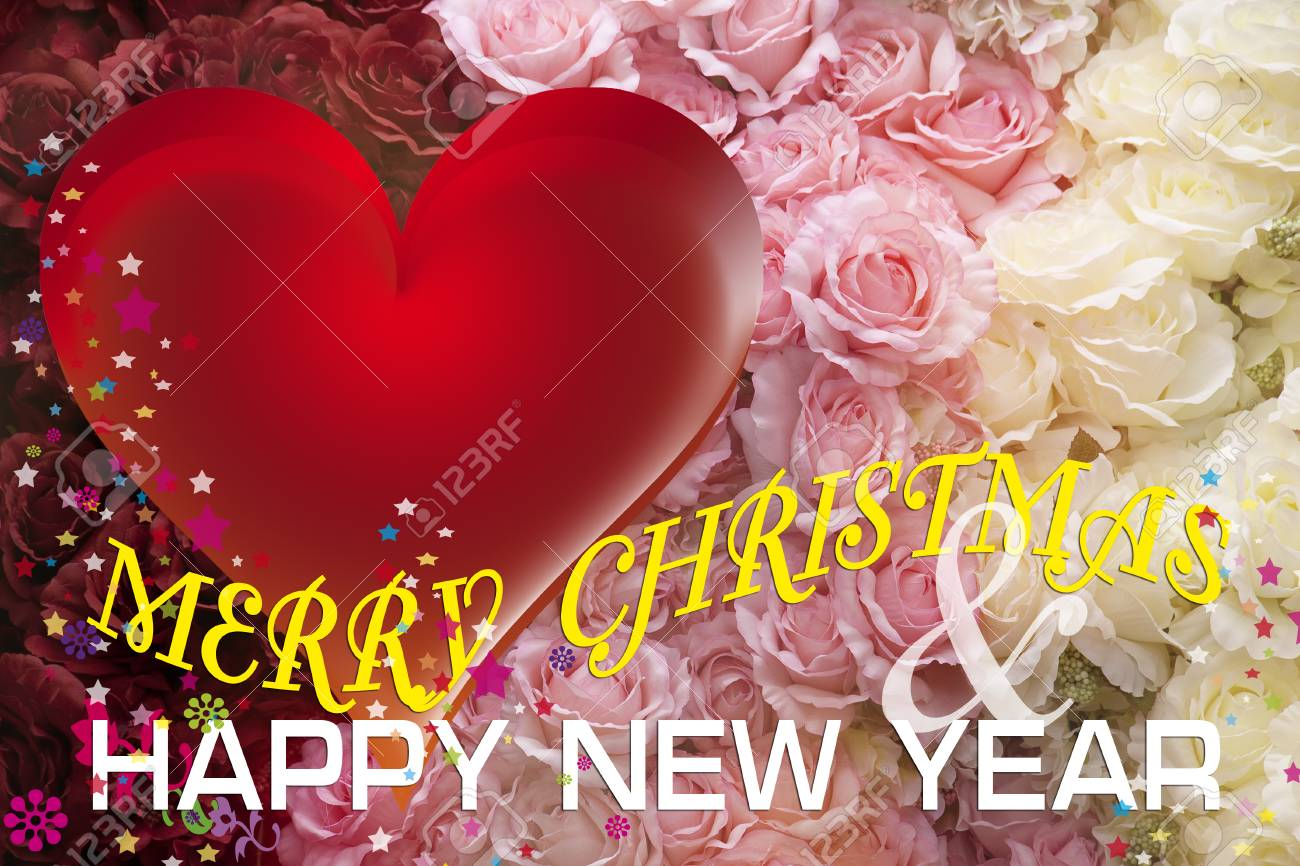 christmas and new year card with red heart and rose stock photo 23481883