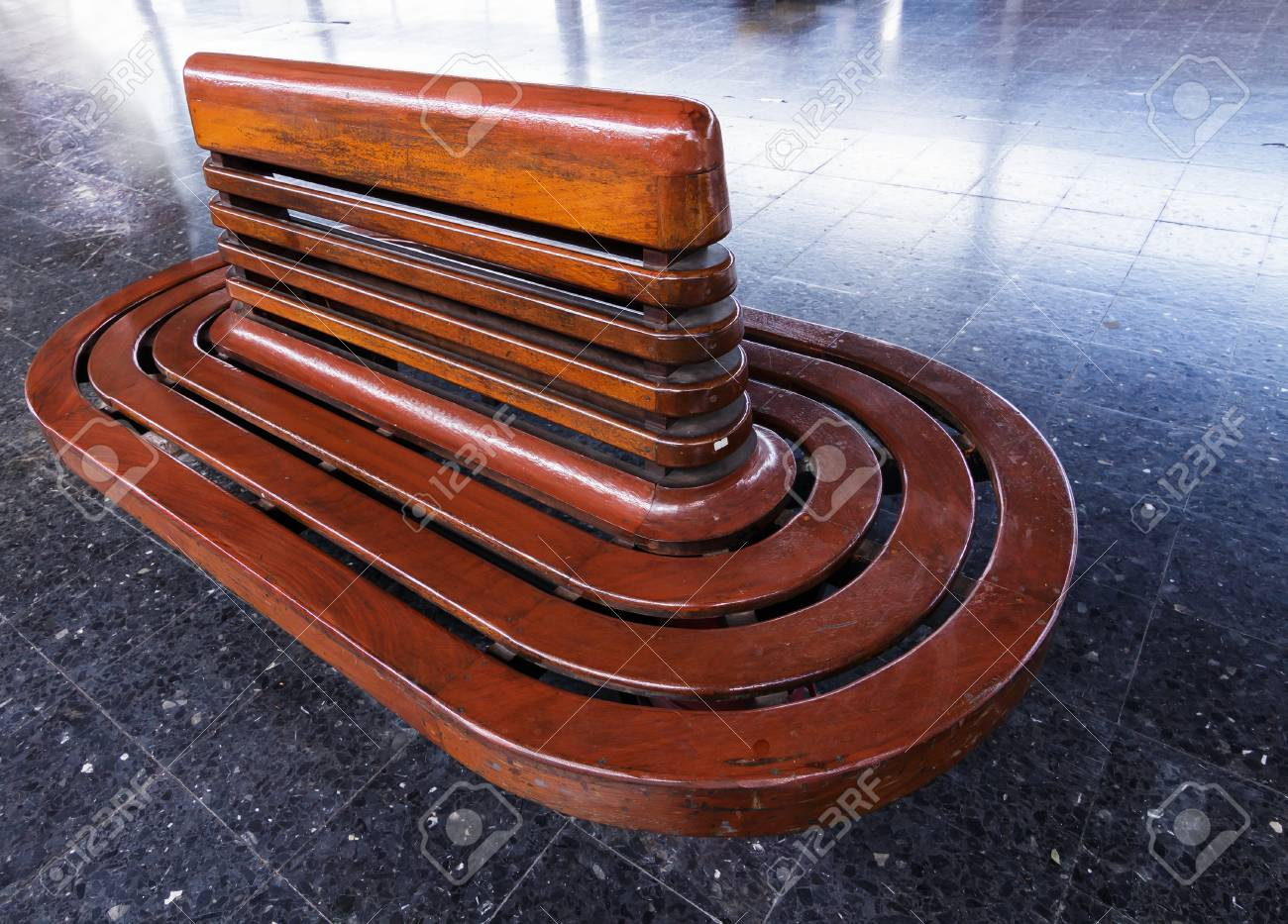 Vintage Wooden Bench At Railway Platform The Old Style Seating