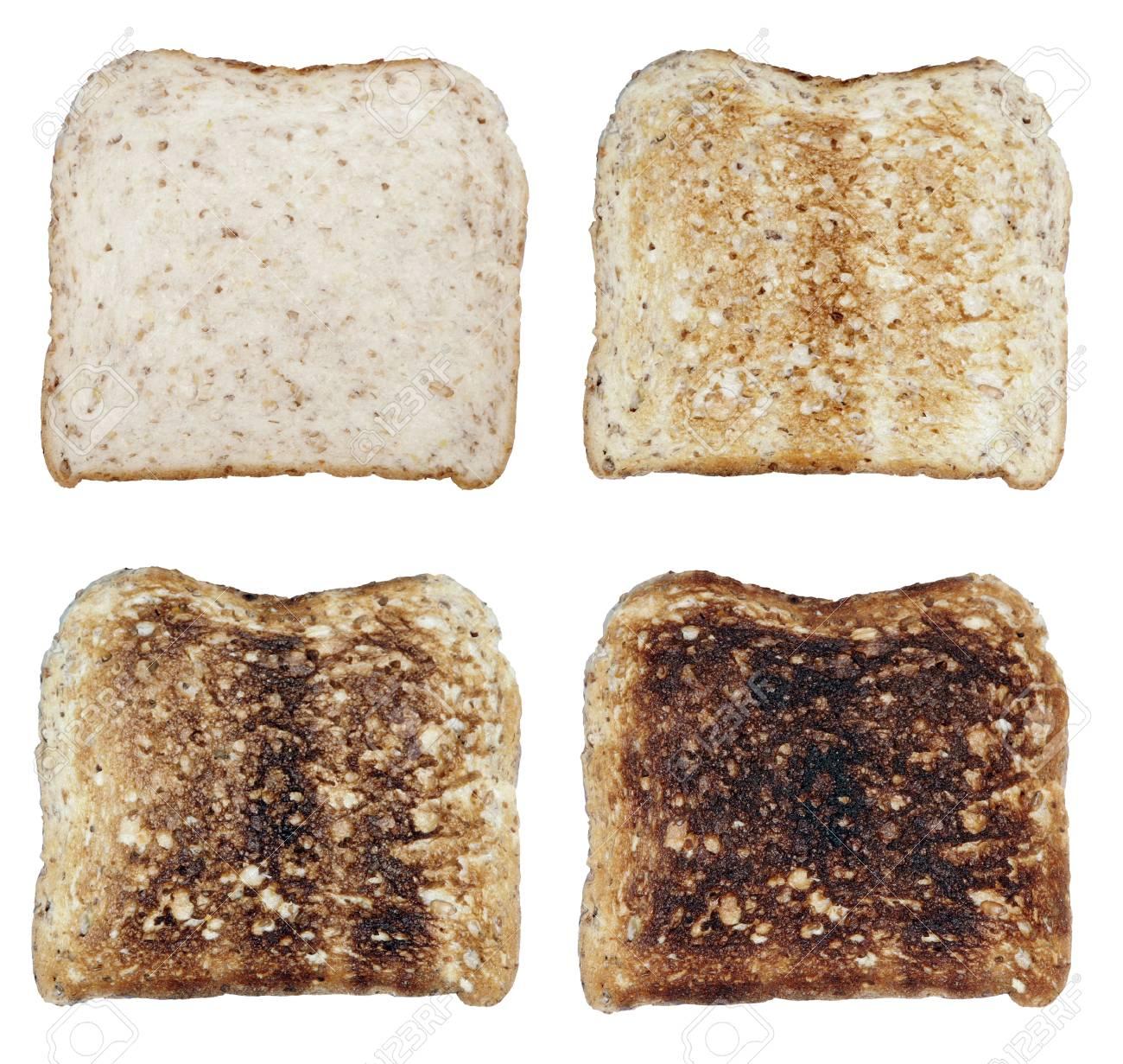 Four Toasts On A White Background, Fresh To Burnt Stock Photo - 1584278