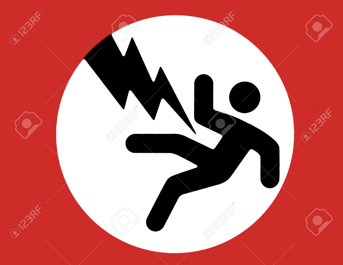 Electric Shock Warning Sign - Black Man, Red Boarder, White ...