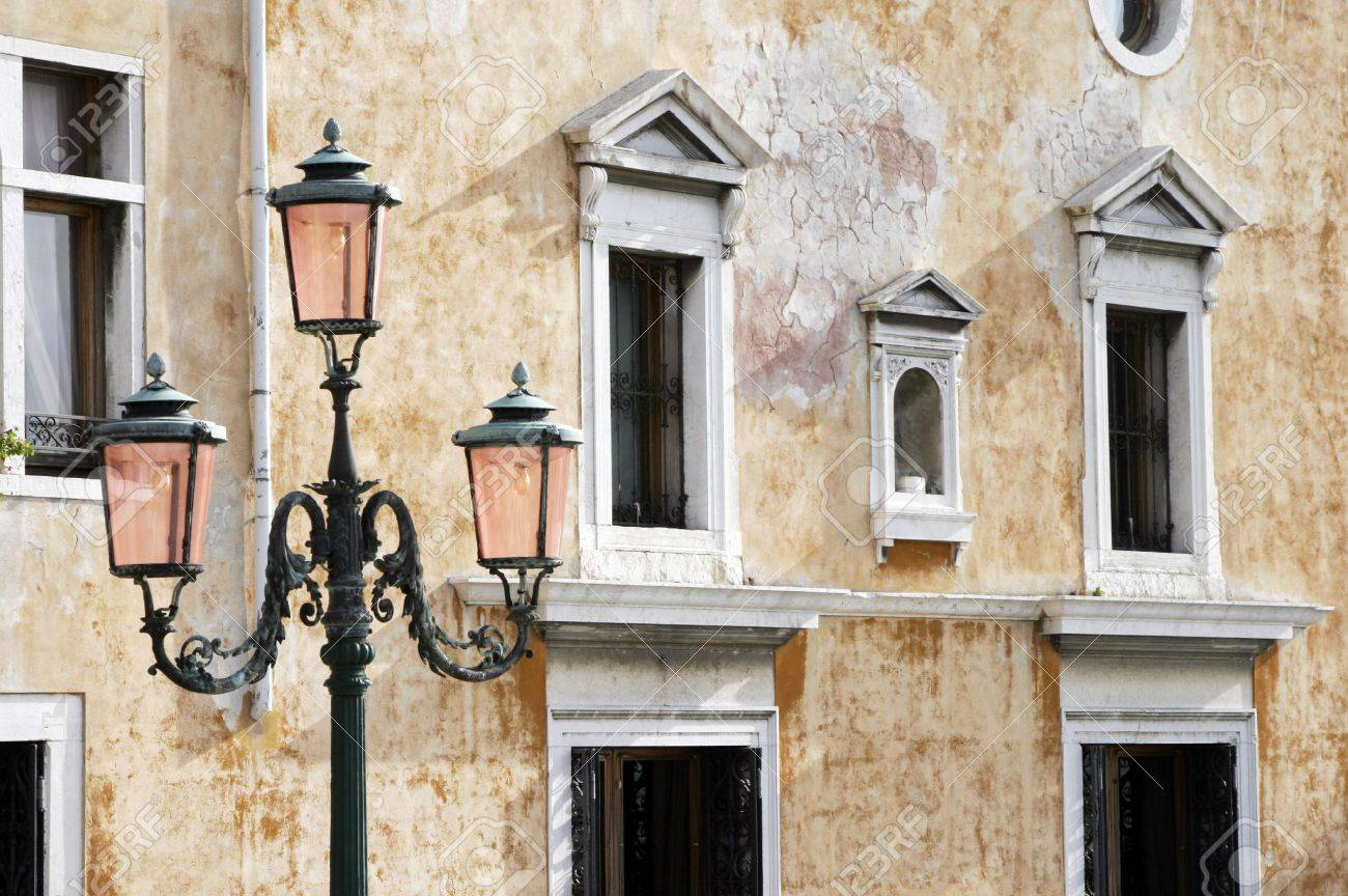 Traditional Street Light In Venice In Front Of Old Building Facade Stock Photo - 2407134