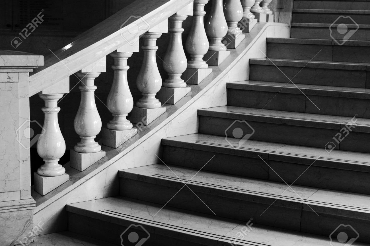 Round Marble Stairs With Classical Coloumn Railing Window Loght Stock Photo Picture And Royalty Free Image Image 2435539