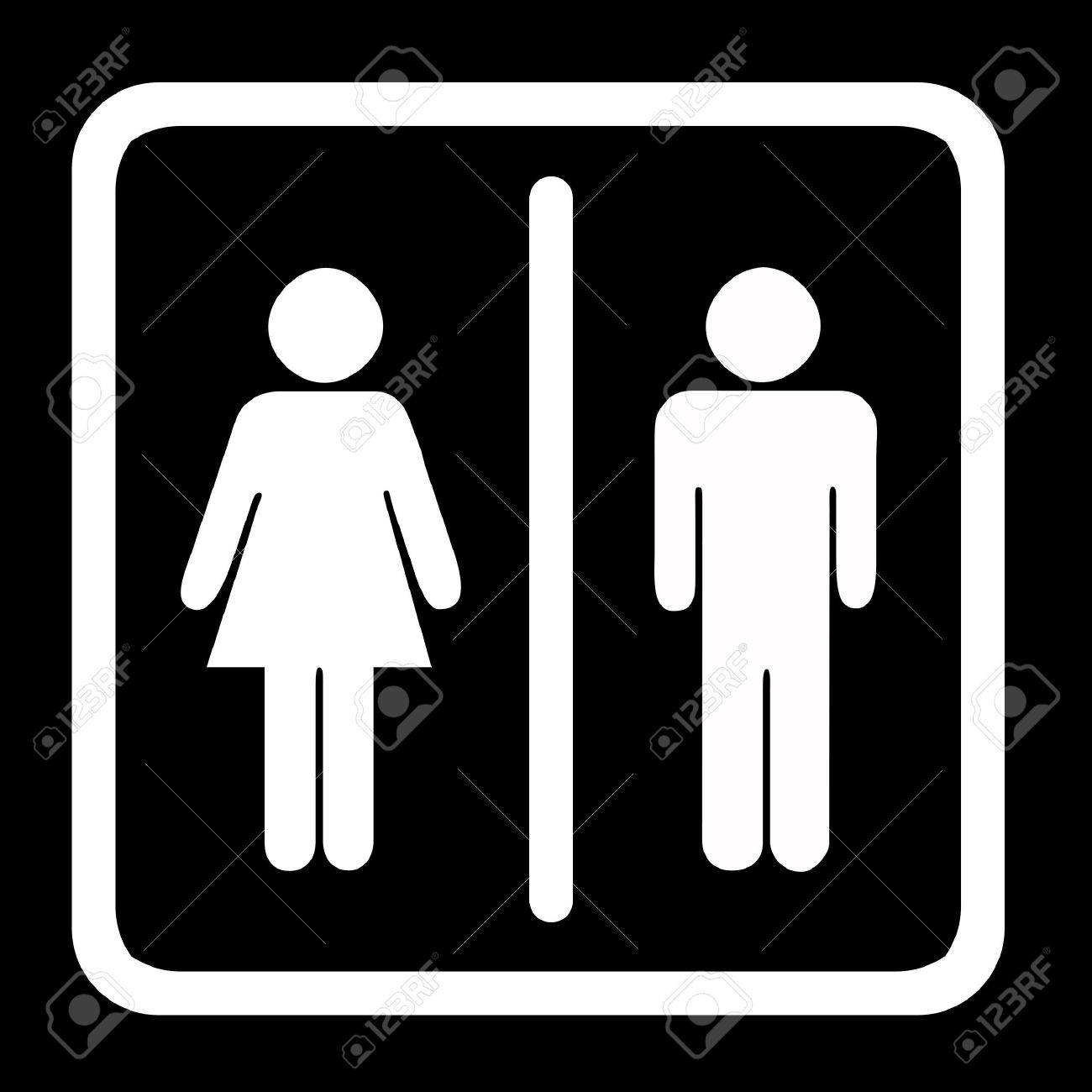 Women's And Men's Toilets Sign, White On Black Stock Photo - 2459794