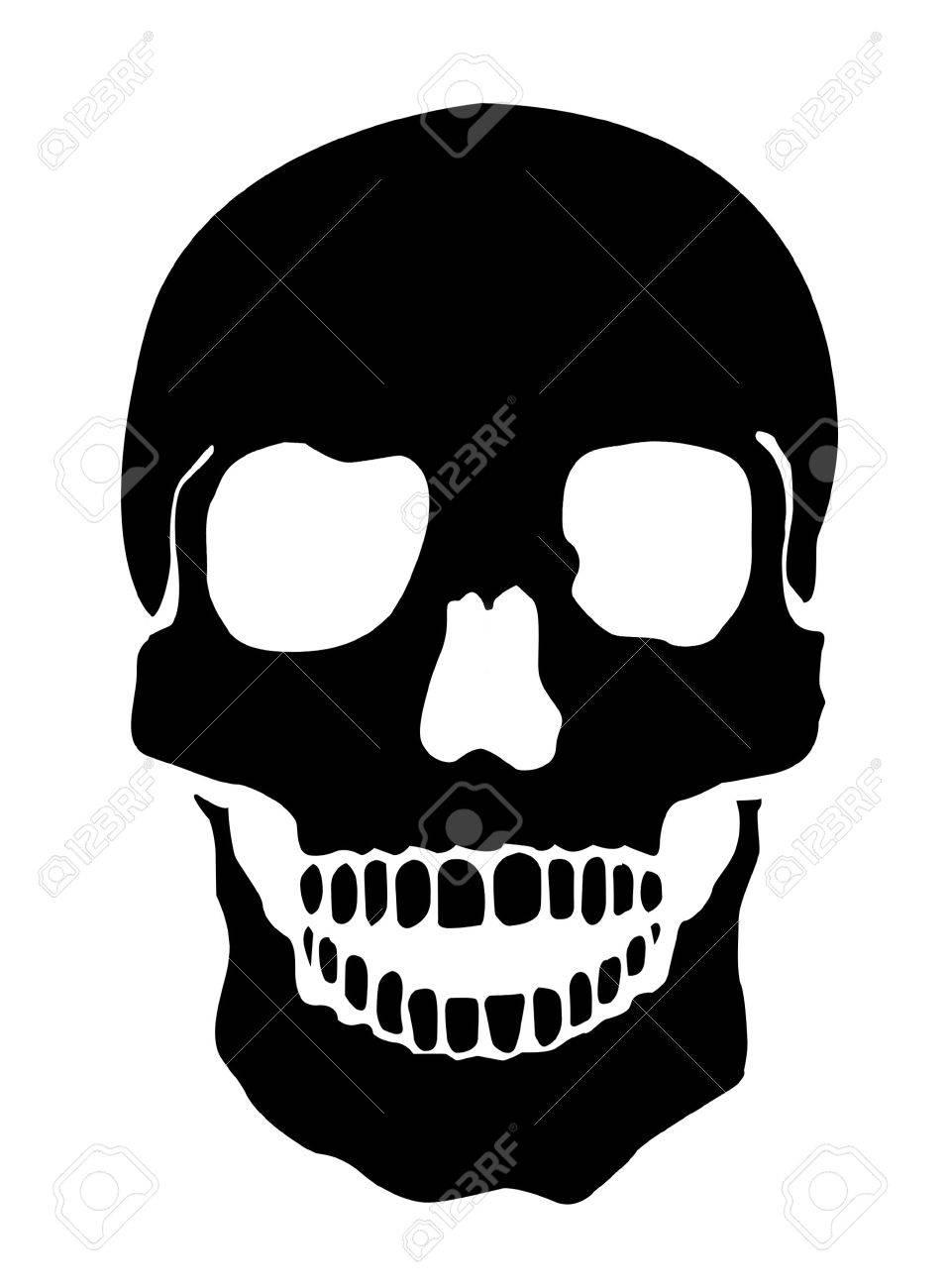 Simple Illustration Of A Human Skull, White Background Stock Illustration - 2517026