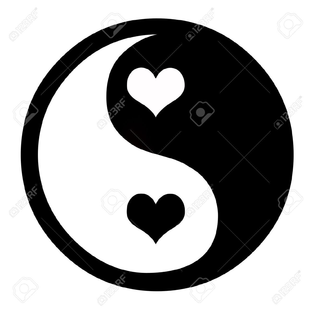 Yin Yang symbol with hearts