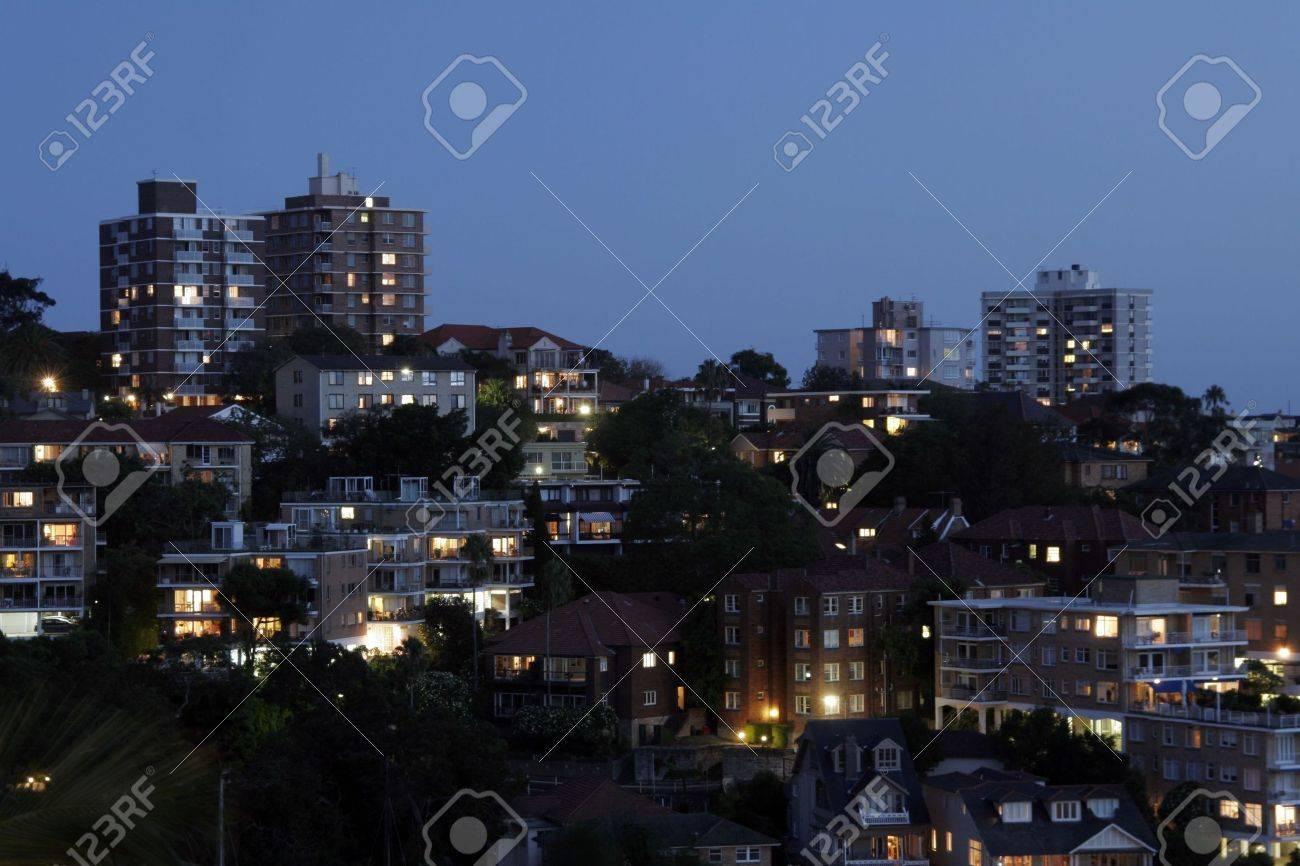 residential suburb at night urban buildings australia stock photo
