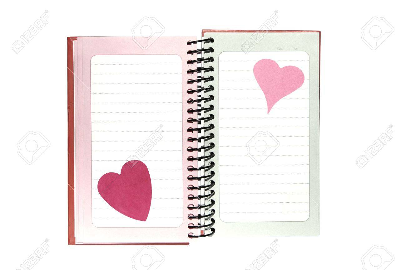 Blank Sheet Of Paper With Horizontal Lines And Hearts On A Spiral – Stationery Paper with Lines