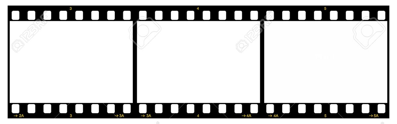 Film Strip With Three Frames, 35mm Format, Yellow Numbers, White ...