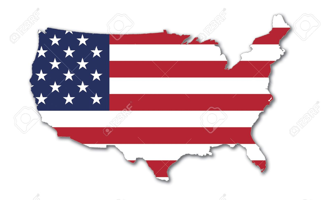 US Map With Stars And Stripes National Symbol Of The USA Stock - Stars map from us