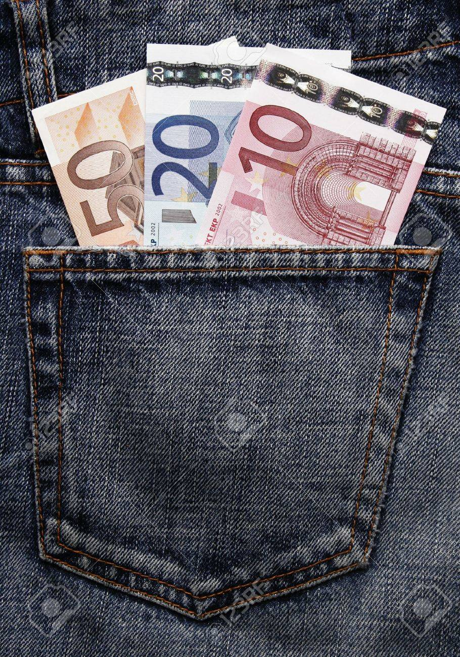 Pocket Money In Blue Jeans - Ten, Twenty And Fifty Euro Note Stock Photo - 2921226