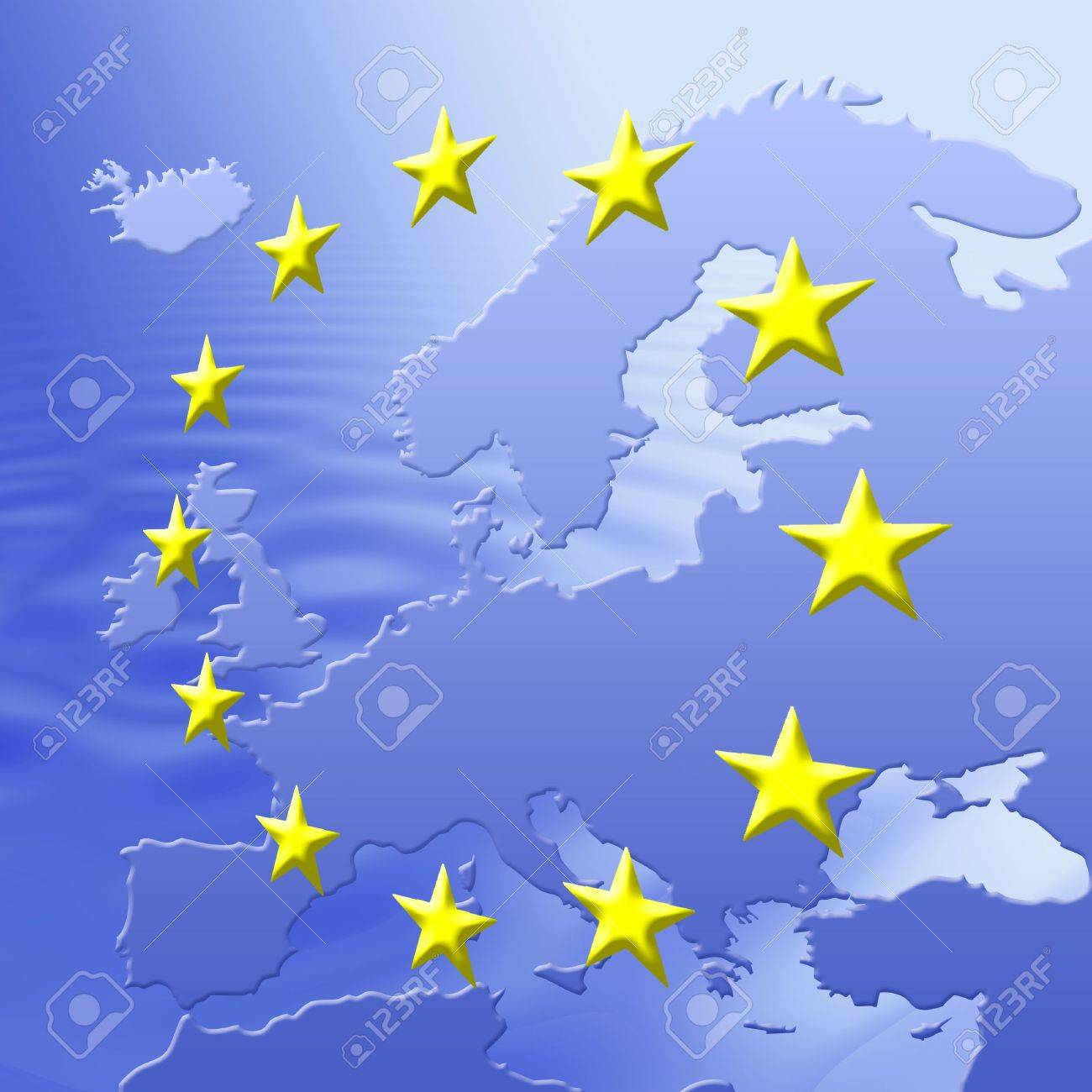 Continent Of Europe Map With EU Stars, Symbolic Illustration of European Union Stock Photo - 3057262