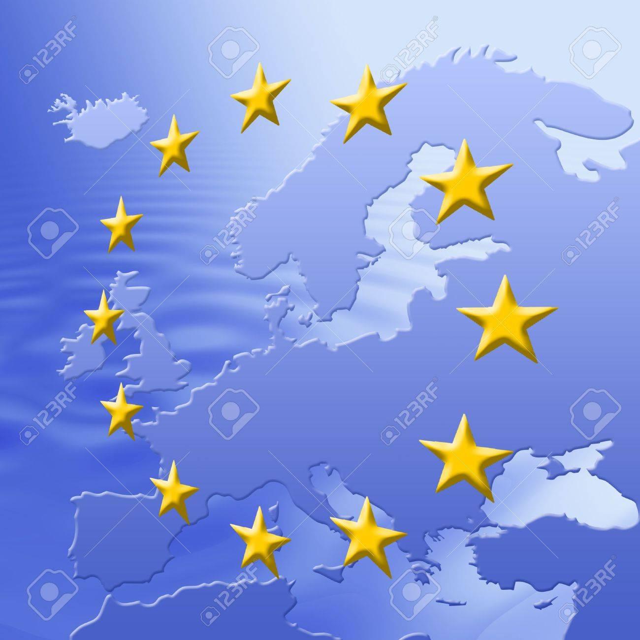 Continent Of Europe Map With EU Stars, Symbolic Illustration of European Union Stock Photo - 3180519