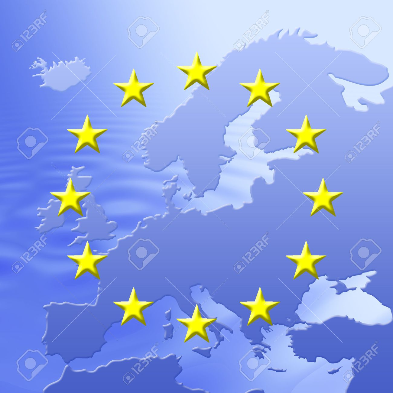 Continent Of Europe Map With EU Stars Symbolic Illustration – Map of the European Continent