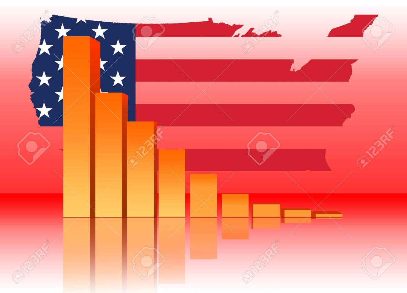 Decreasing Bar Chart Business Data Graph With Us Map Stock Photo 3621622