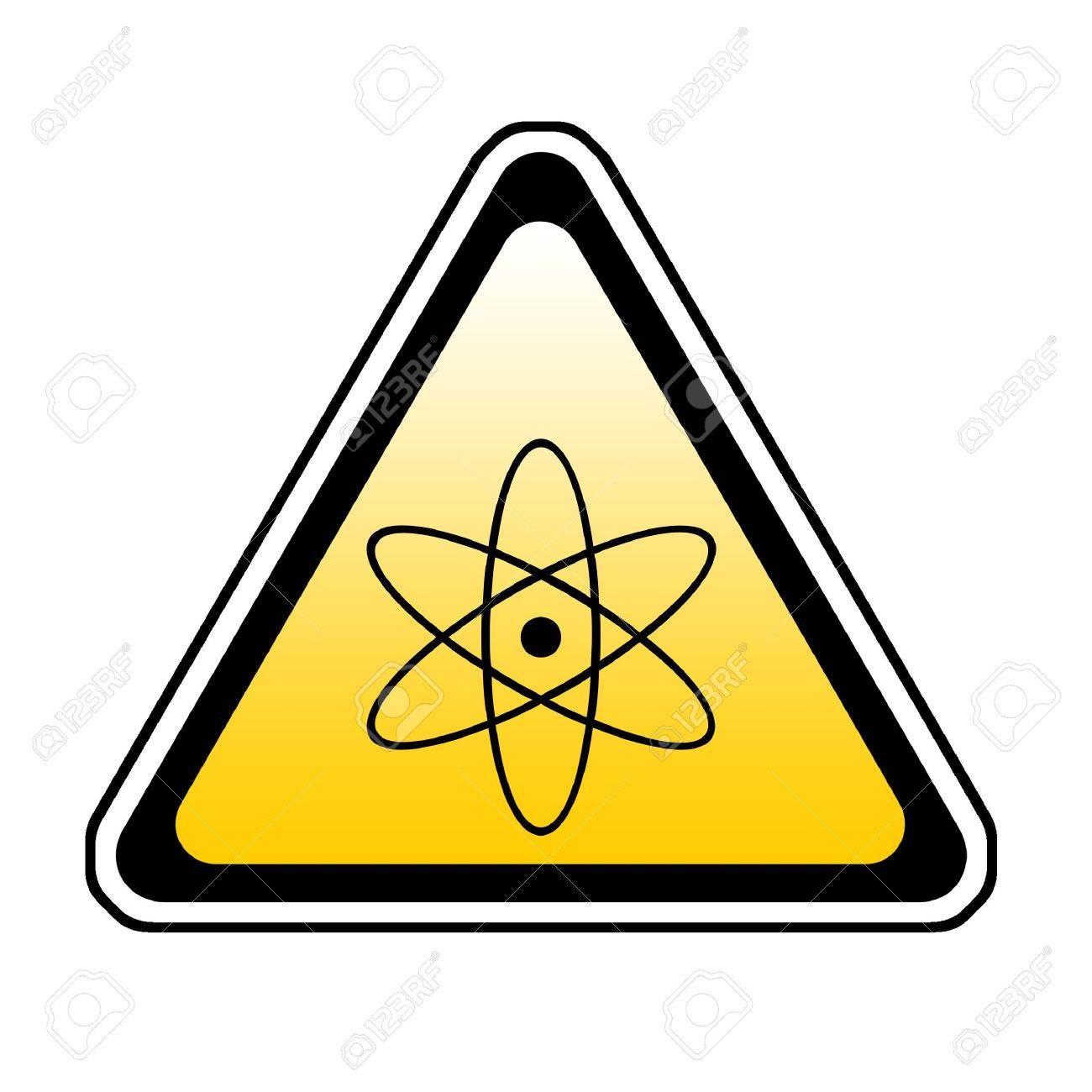 Radiation Warning Sign, Atomic Symbol, White Background Stock Photo - 3837551