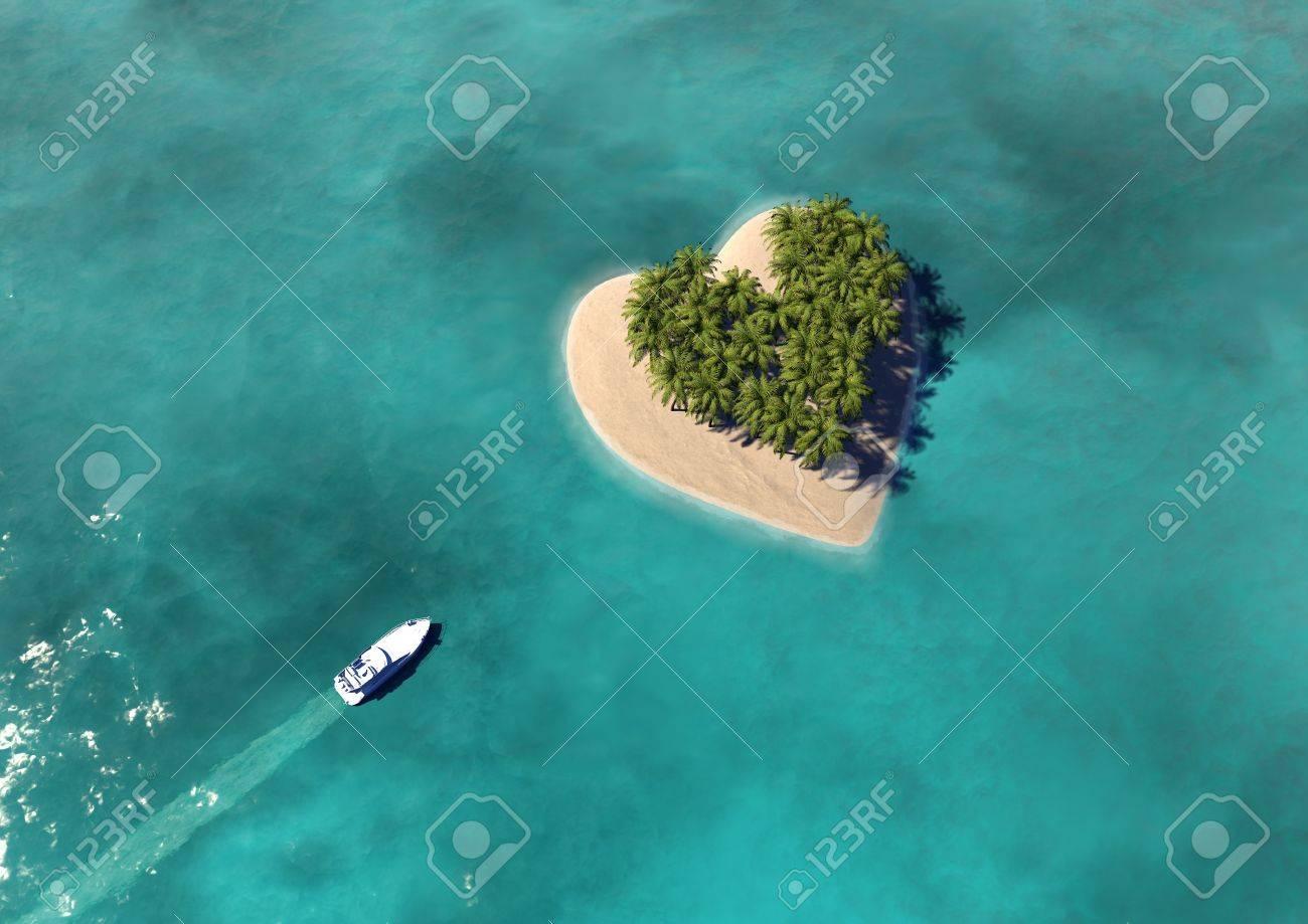 Heart Shaped Paradise Island Stock Photo - 15036807