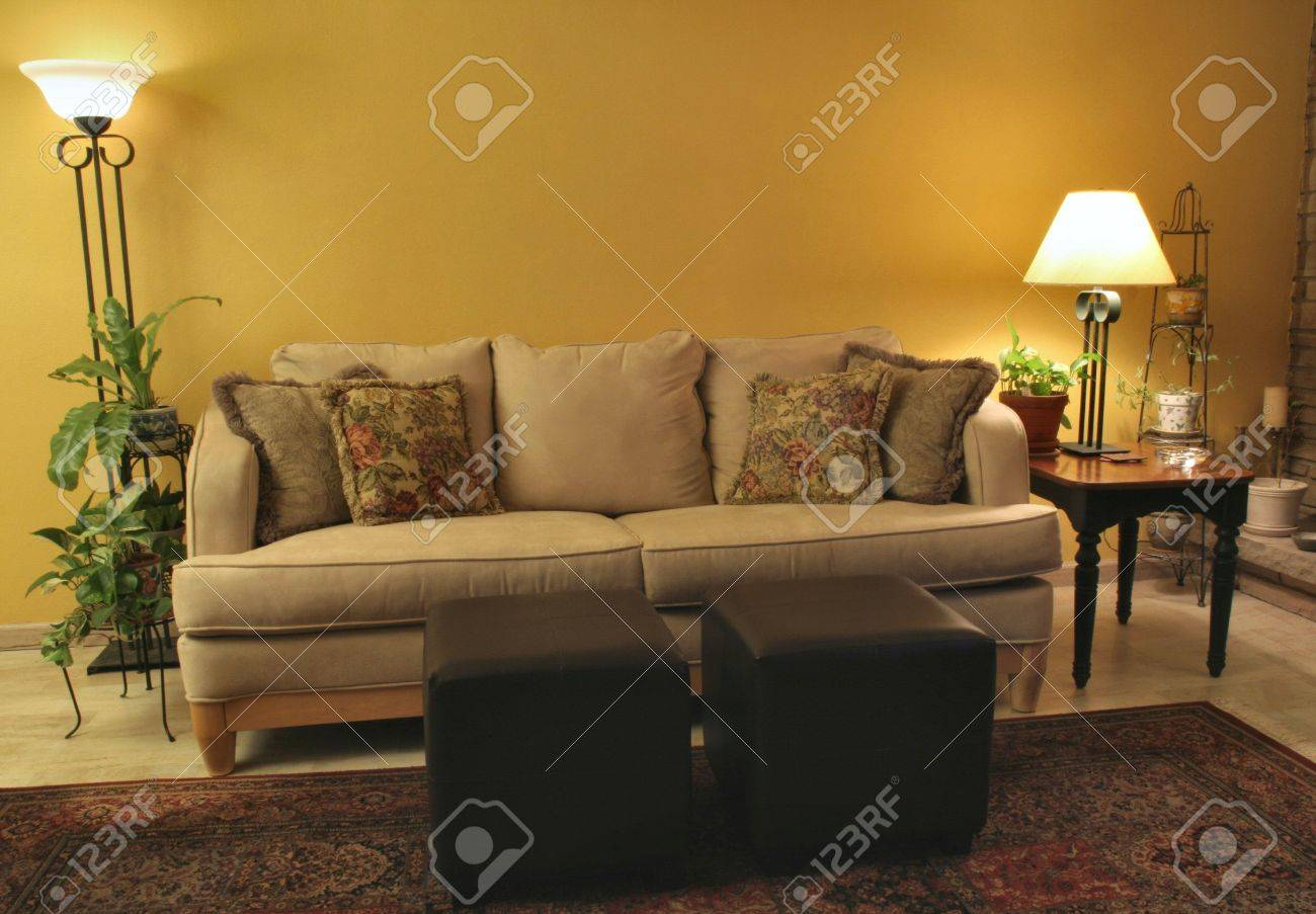 Elegant Living Room With Microfiber Couch And Matching Lamps Stock Photo   309619 Part 15