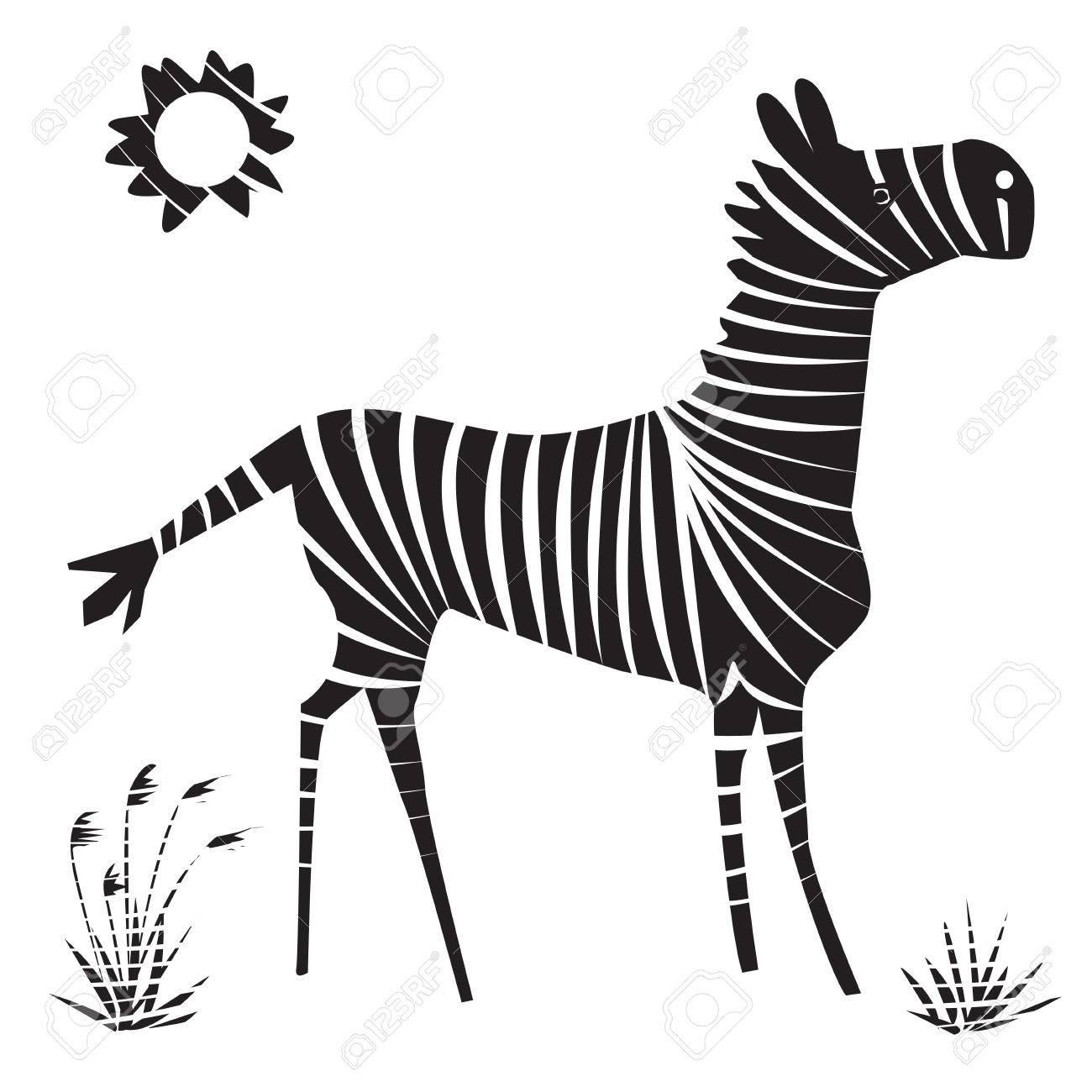 シマウマのイラスト。孤立した漫画白黒動物。 ロイヤリティフリー