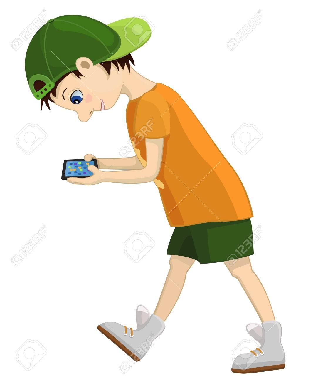 Computer-süchtig Kind Schaut Aufmerksam Auf Seine Tablette. Spiel ...