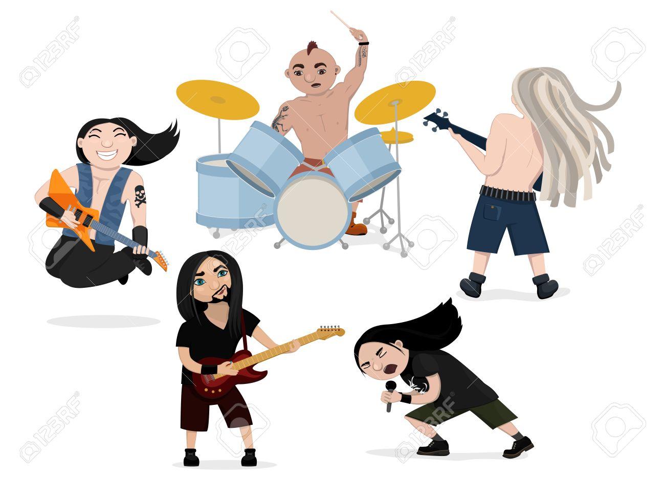 Vector Illustration Der Lustigen Rockband Spielen Heavy Metal