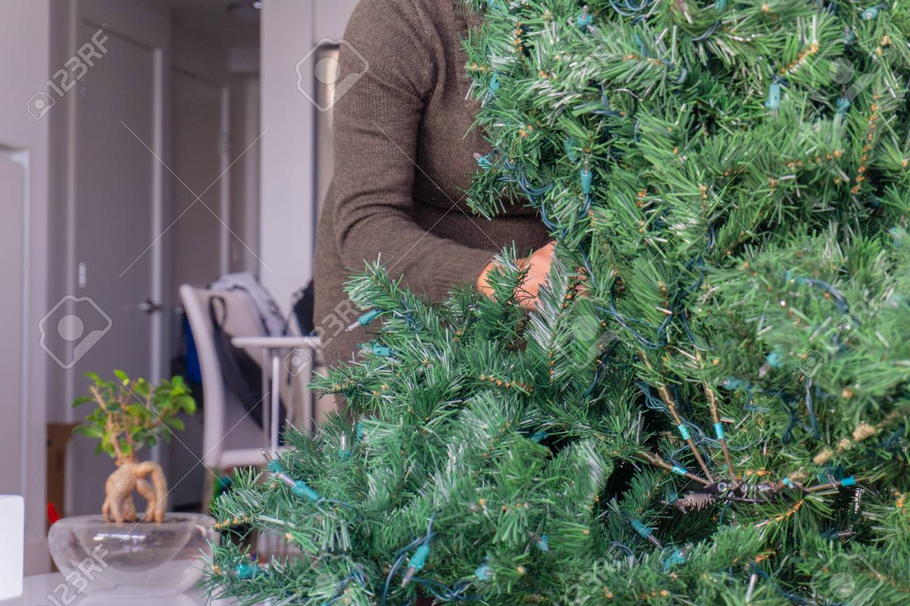 Artificial Christmas Tree Branches.Woman Behind An Artificial Christmas Tree Setting Up The Holiday