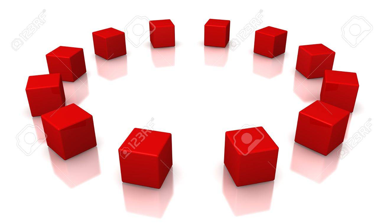 Red cubes on a white background Stock Photo - 15705380