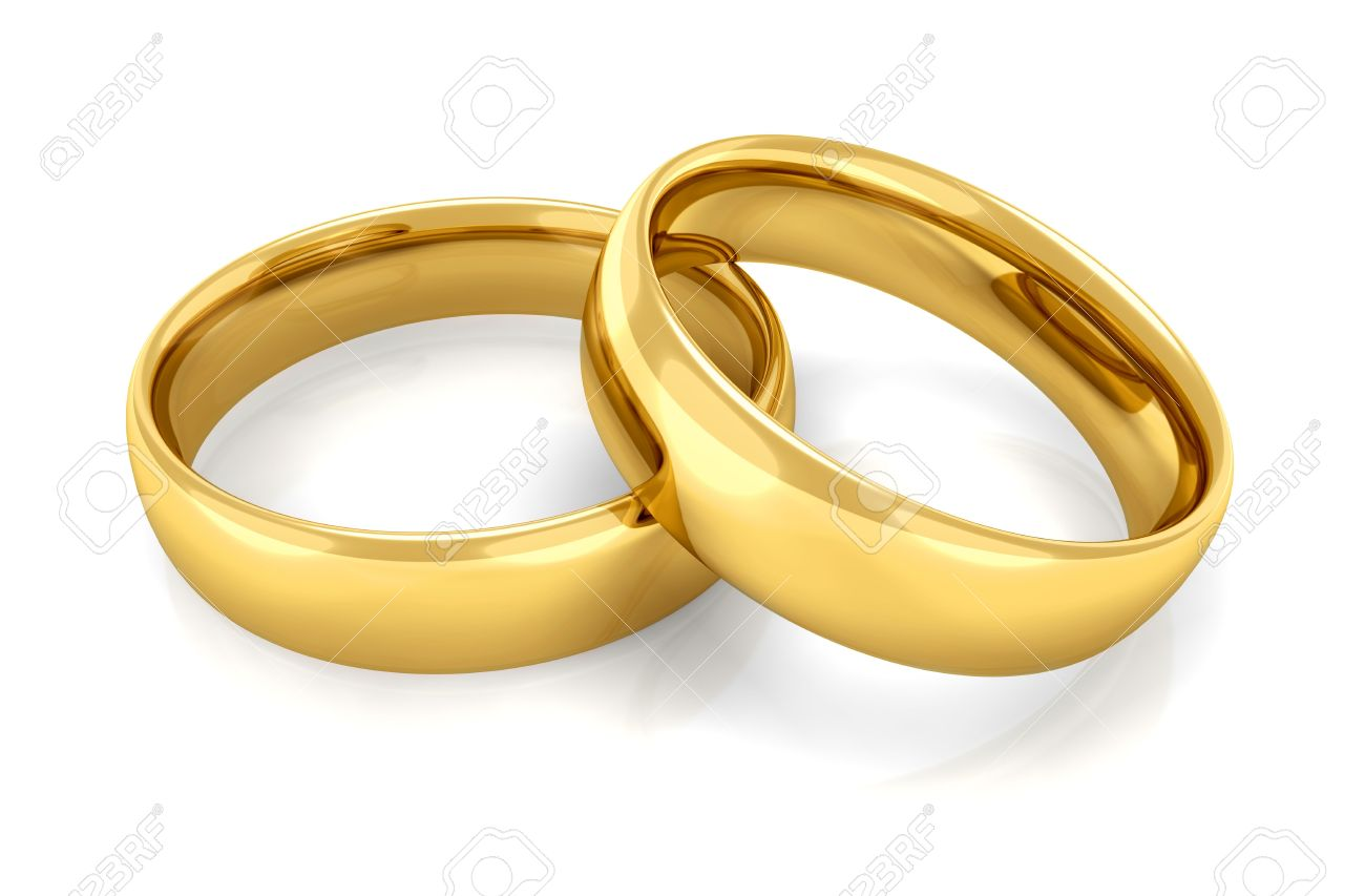 two gold rings stacked together one on the other stock photo